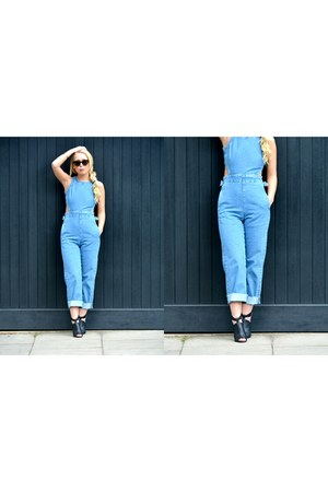 black JustFab boots - blue asos romper - off white asos hair accessory
