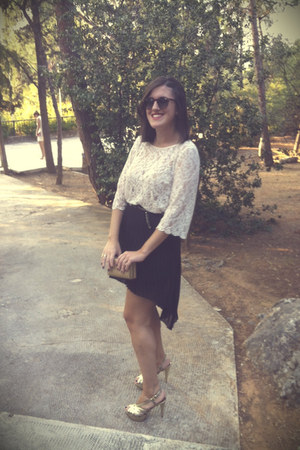 eggshell lace H&M blouse - vintage sunglasses - leather heels - black Zara skirt