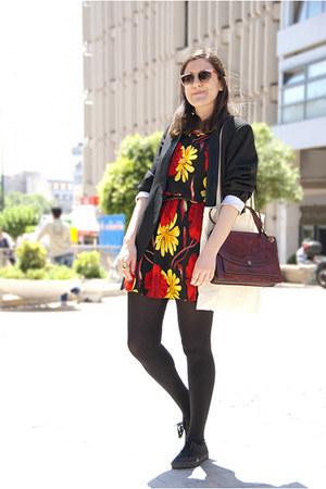 black shoes - black dress - black vintage blazer - dark brown vintage leather ba