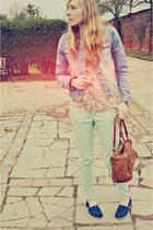 nude Primark shirt - aquamarine Topshop jeans - sky blue Primark jacket