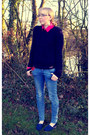 Blue-zara-jeans-gray-topshop-coat-navy-hollister-sweater