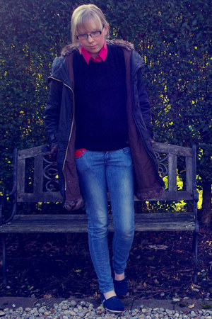blue Zara jeans - gray Topshop coat - navy hollister sweater