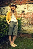 beige Panama hat - camel ted baker shorts - yellow H&M cardigan