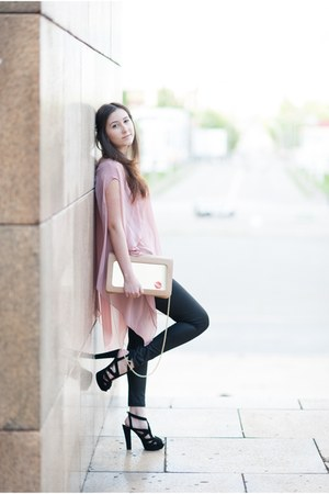 pink Romwecom shirt - nude Moon by Dana Rogoz bag - black Zara sandals