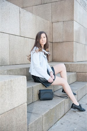 sky blue Zara jacket - black H&M bag - black random brand skirt