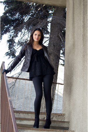 dark brown leather jacket - black leggings - black heels - black lace blouse