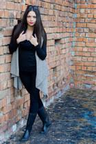 black boots - black tights - black scarf - New Yorker sunglasses - black blouse