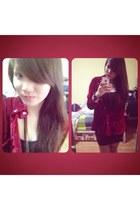 black cotton H&M dress - ruby red velvet comfy top