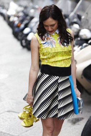blue Fausto Puglisi skirt - yellow Peter Pilotto blouse