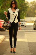 white Armani Exchange jacket - black River Island leggings