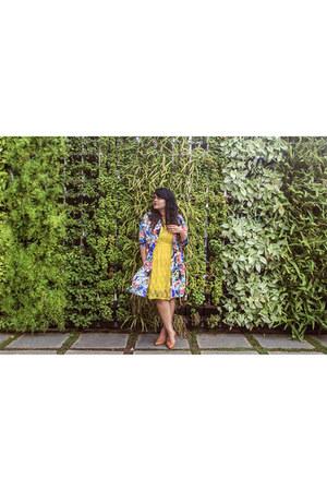 Forever 21 jacket - yellow stalkbuylove dress - bronze new look heels