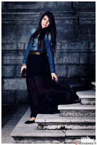 black mixeri skirt - navy Xetra shirt - dark brown Louis Vuitton bag