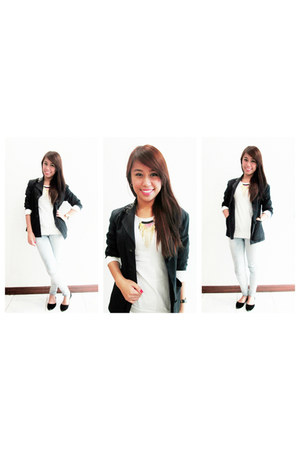 black second hand blazer - light blue light skinny Freego jeans