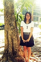 black flats shoes - white shirt - black high-waisted skirt