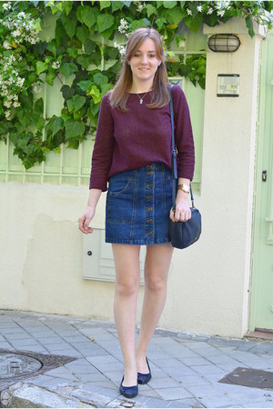 blue Stradivarius skirt - maroon Pull & Bear shirt - navy Paco Martinez bag