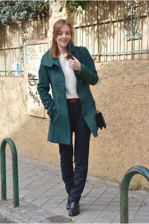 black Vogue & LV shoes - teal Stradivarius coat - white Mango sweater