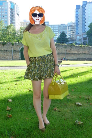 green Lefties shorts - lime green Furla bag - black SXUC sunglasses