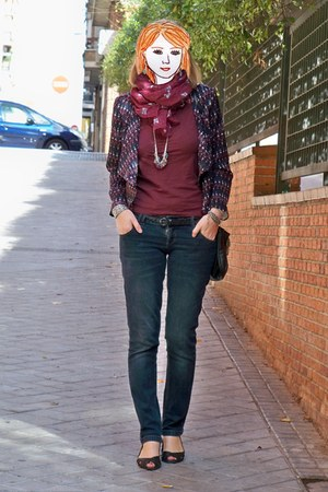 brick red H&M jacket - navy Bershka jeans - brick red Primark scarf