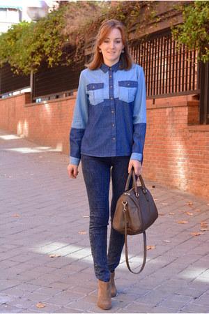 blue Mulaya shirt - dark khaki Mango boots - blue Bershka jeans