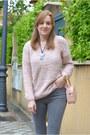 Black-springfield-boots-heather-gray-lefties-coat-light-pink-primark-sweater