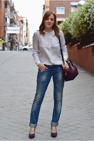 black Radiant watch - blue Bershka jeans - white Lefties shirt