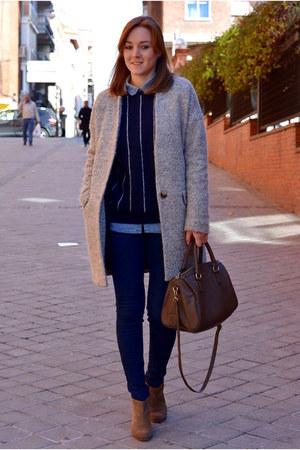 dark khaki Mango boots - heather gray Lefties coat - navy Mango sweater