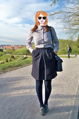 gold SIX ring - sky blue Mango shirt - navy Ardene tights