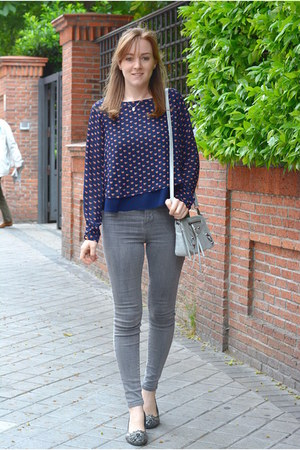 heather gray Vogue & LV shoes - silver Pull & Bear jeans - black H&M jacket