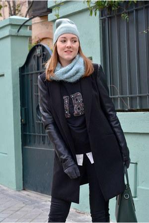 black Stradivarius coat - aquamarine Primark hat - black Lefties sweater