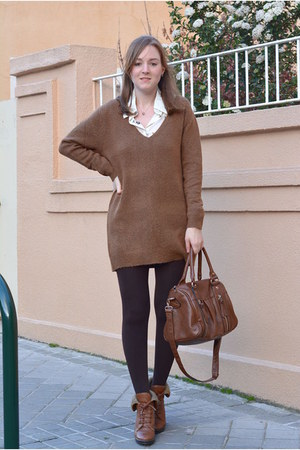 brown Vogue & LV boots - brown Lefties sweater - white romwe shirt