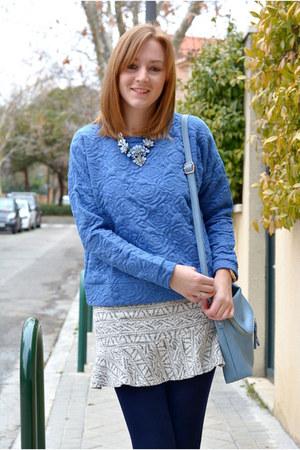 periwinkle Primark necklace - silver Vogue & LV shoes - periwinkle Primark scarf