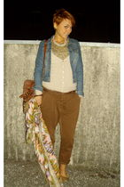 brown Zara pants - blue H&M jacket - beige Zara cardigan - brown Zara top - brow