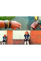 silver vintage bracelet - silver romwe bracelet - black DIY shirt