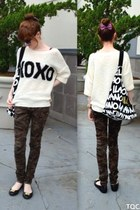 black c&a shoes - cream xoxo print Tally Weijl sweater
