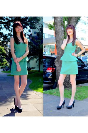 black c&a pumps - aquamarine c&a dress
