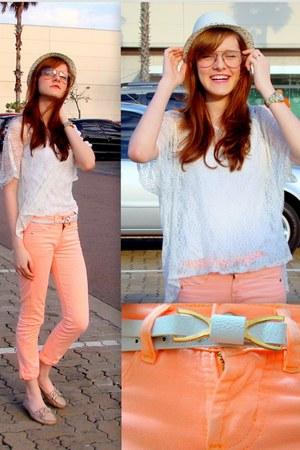 white chicnova belt - peach salmon collor Renner pants - off white income blouse
