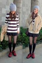 black basic lupo tights - eggshell fur Renner coat