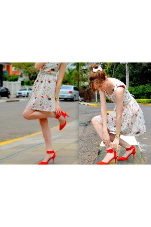 light pink chicnova dress - red Zara shoes