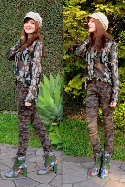 military JDC Urban Store shirt - colorful print Desigual Barcelona boots