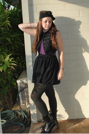 black Forever 21 vest - purple American Apparel shirt - black American Apparel s