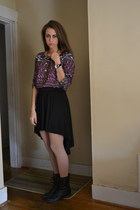 purple Zara top - black Steve Madden boots - black Forever 21 skirt