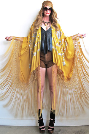 mustard fringed kimono Girl On A Vine top
