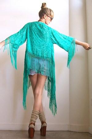 teal velvet fringe Girl On A Vine cardigan
