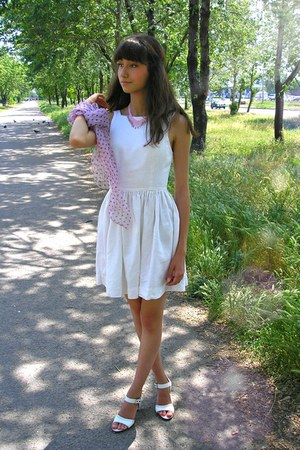 white American Apparel dress - bubble gum Anne Touraine scarf - ivory Zara heels