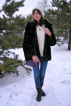 black Mango coat - navy Diesel jeans - neutral Forever 21 hat