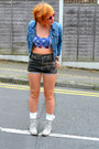 Heather-gray-boots-blue-denim-jacket-jacket-green-shorts