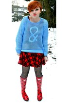 Wedge Welly boots - dress - tights - jumper