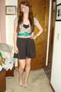 Green-vintage-belt-tan-leopard-print-cardigan-black-h-m-skirt-beige-bow-de