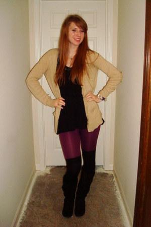 black payless boots - black American Apparel socks - maroon leggings - black top