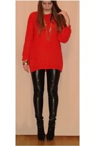 black leather pants - black boots - red oversize Zara sweater - gold accessories